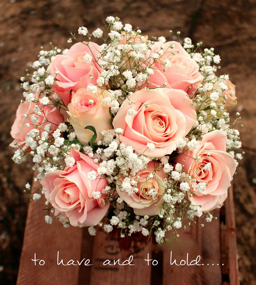 Wedding Flowers Warwickshire: Pink Roses And Gypsophila