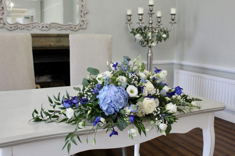 Blue Hydrangea Ceremony Flowers at Ashton Lodge