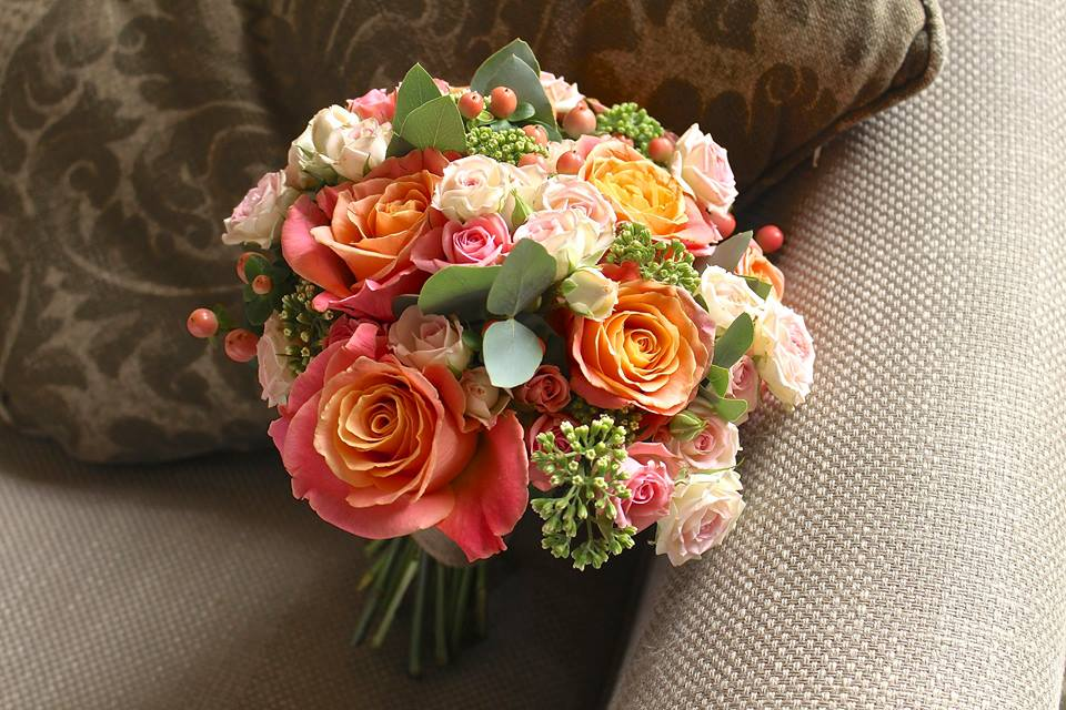 Coral rose Bridal Bouquet